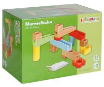 SpielMaus Holz Murmelbahn mit 6 Murmeln, 23-teilig, ca. 27x25x17 cm, ab 3 Jahren