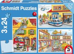 Schmidt Spiele Kinderpuzzle Feuerwehr und Polizei, 3x24 Teile