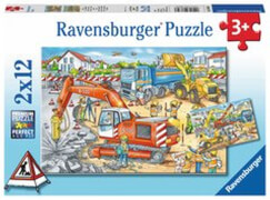 Ravensburger 07630 Puzzle Achtung, Straßenbaustelle! 2x12 Teile
